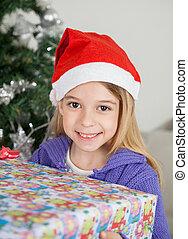 santa, cadeau, girl, tenue, sourire, chapeau, noël