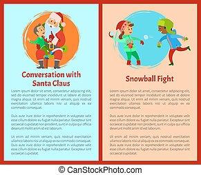 santa, conversation, boule de neige, combats, cartes postales