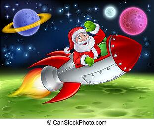 santa, dessin animé, illustration, fusée, espace