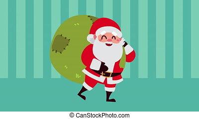 santa, dons, joyeux, heureux, claus, animation, sac, noël