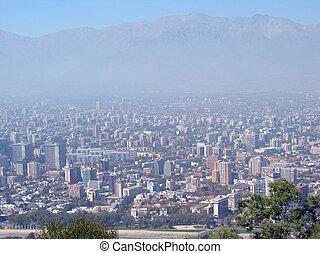 santiago, sur, épais, chili, smog
