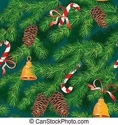 sapin, arbre noël, année, -, accessoires, texture, seamless, modèle fond, nouveau, noël