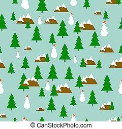 sapin, bonhomme de neige, montagnes, modèle, bleu, arbre, arrière-plan vert, chapeau blanc, rouges