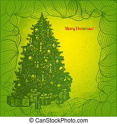 sapin, card., arbre, vecteur, artistique, décoré, noël