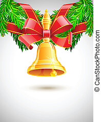 sapin, décor, sonnerie or, rouges, noël, ruban
