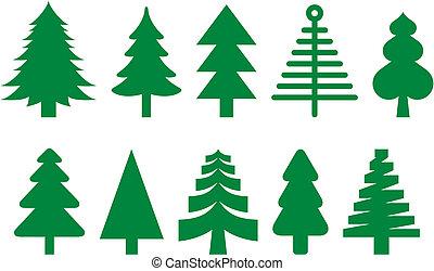 sapin, ensemble, arbres