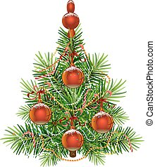 sapin, isolé, arbre., vert, décoré, noël