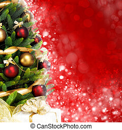 sapin, magically, brillant, arbre, brouillé, balles, fond, guirlandes, décoré, christmas-red, rubans