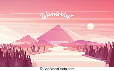 sapin, montagne, vecteur, coucher soleil, forêt, paysage rivière
