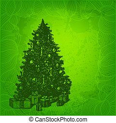 sapin, vecteur, arbre, noël carte