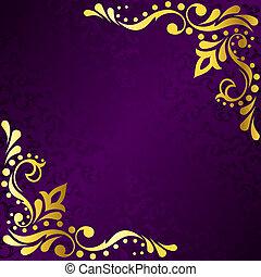 sari, or, pourpre, cadre, filigrane, inspiré