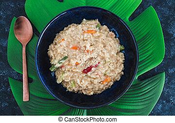 satay, riz, remuer, nourriture, plant-based, frire, végétariens, vegan
