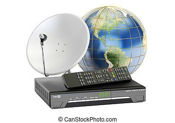 satellite, concept., global, rendre, numérique, récepteur, plat, télécommunications, la terre, 3d