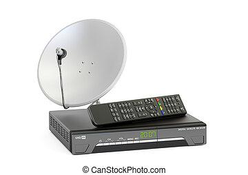 satellite, concept., numérique, plat, rendre, récepteur, télécommunications, 3d