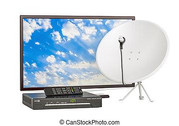satellite, ensemble, tv, concept., récepteur, plat, rendre, numérique, télécommunications, 3d