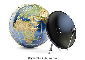 satellite, globe global, télécommunications, rendre, plat, concept., la terre, 3d