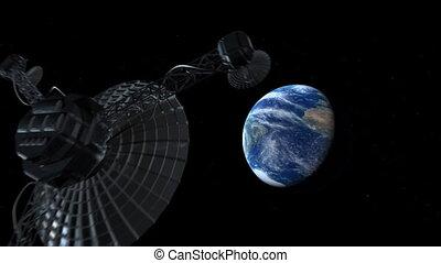 satellite, ouvert, hdtv, space.