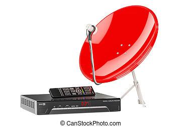 satellite, rendre numérique, récepteur, 3d, dish.