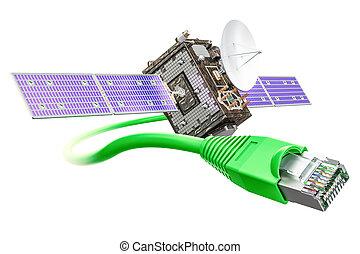 satellite, service, concept, rendre, internet, 3d