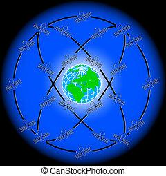 satellites, excentrique, espace, earth., autour de, orbites