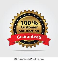 satisfaction client, écusson, rouges, or