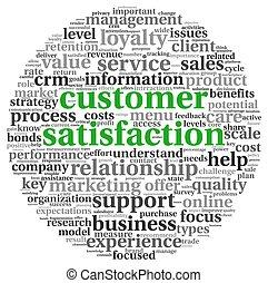 satisfaction client, blanc, concept