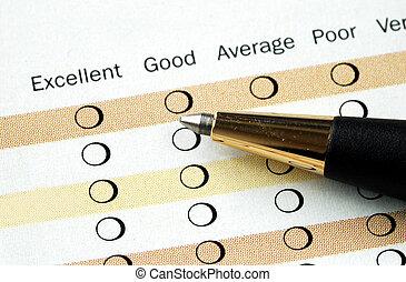 satisfaction client, enquête, remplir