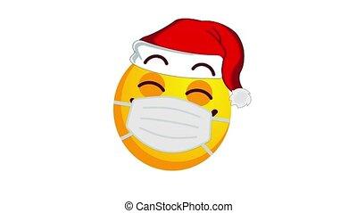 satisfait, chapeau, isolé, channel., protecteur, alpha, sourire, santa, animation, claus, jaune, noël, emoji, être, monde médical, blanc, masque, arrière-plan.