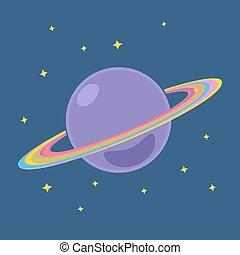 saturne, espace, étoiles, extérieur, planète