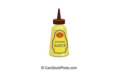 sauce, icône, moutarde, animation