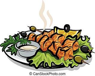 saumon, chiche-kebab