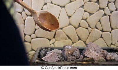 sauna, girl, eau, pierres, verse