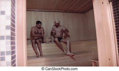 sauna, hommes, jeune, délassant, deux