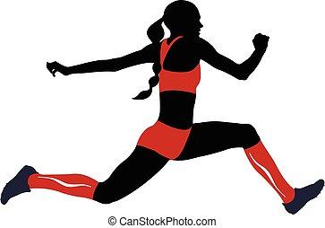 saut, athlète, femme, triple