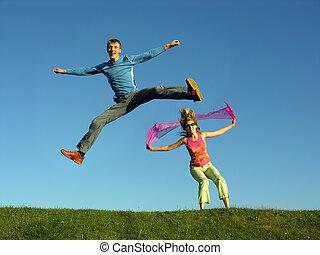 saut, couple, herbe