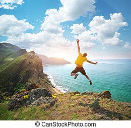 saut, happines, homme