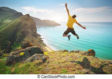 saut, happines, mer, homme