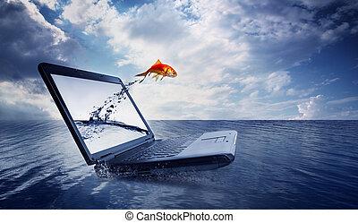 saut, poisson rouge, dehors, moniteur, océan