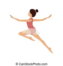 saut, seconde, danseur, coloré, arabesque
