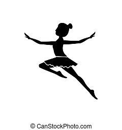 saut, seconde, danseur, silhouette, arabesque