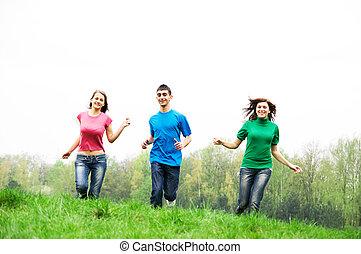 sauter, amis, heureux
