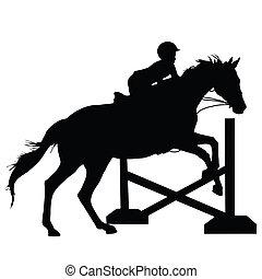 sauter, cheval, silhouette