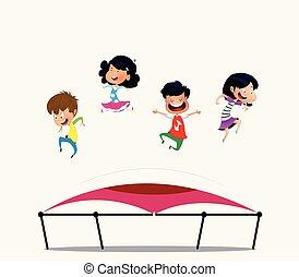 sauter, dessin animé, trampoline., enfants