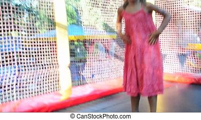 sauter, enfant, trampoline
