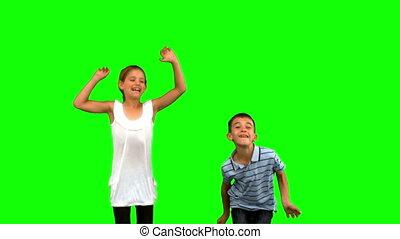 sauter, ensemble, vert, frères soeurs