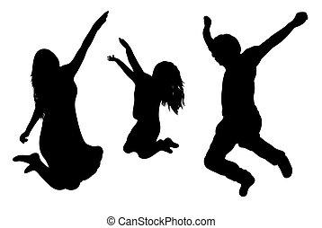 sauter, famille, silhouette