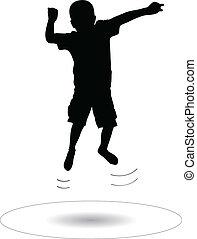 sauter, garçon, trampoline