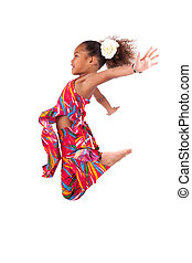 sauter, girl, asiatique, portrait, africaine, jeune