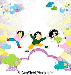 sauter, heureux, gosses