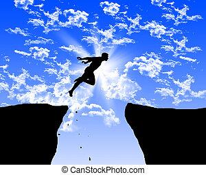 sauter, homme, rochers